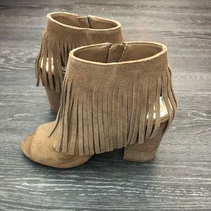 Women's- ankle bootie peep toe with tassels